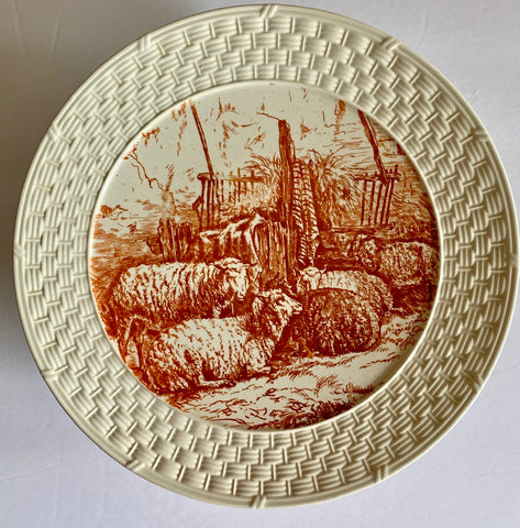 1880's Grazing Sheep Brown Transferware Footed Cake Plate / Compote Dish Brown Westhead Moore