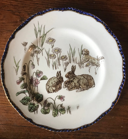 Antique Royal Doulton Plate French Rabbits Hunt Scene  La Chasse