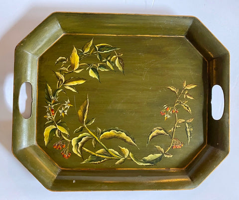 Hand Painted & Signed Berries &  Vines Vintage Green Tole Tray Toleware