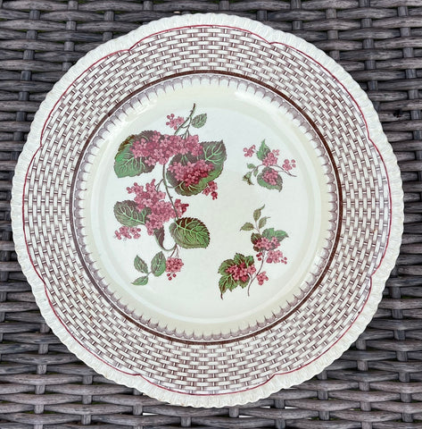 Brown and Pink Transferware Plate Flowers in Basketweave Border Brown Westhead & Moore