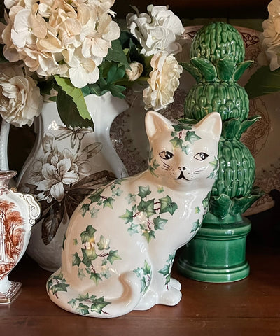 Large Vintage Green Ivy English Staffordshire Cat Figurine  - English Country Decor