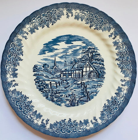 Blue Transferware Chop Plate Charger Brookside Stream Cottage Flowers