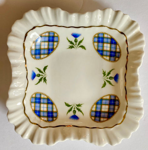 Vintage Blue & Yellow Scottish Tartan Plaid Candy Soap or Trinket Dish w/ Thistle
