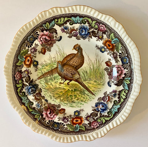 Spode Copeland Brown Transferware Plate Game Bird Pheasant Handpainted in Vivid Detail
