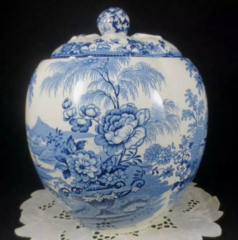 RARE Cookie Jar or Biscuit Barrel Clarice Cliff signed Vintage Blue Transferware Tonquin