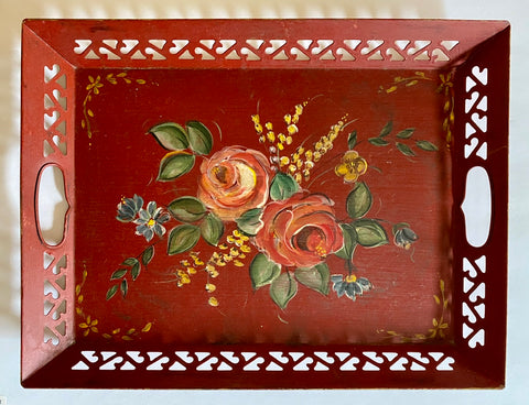 Vintage Handled Reticulated Hand Painted Floral Red Tole Toleware Tray