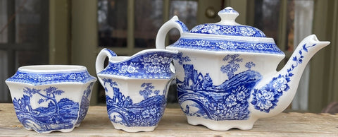 Blue Transferware Miniature Child Size Tea Set Teapot Sugar Creamer