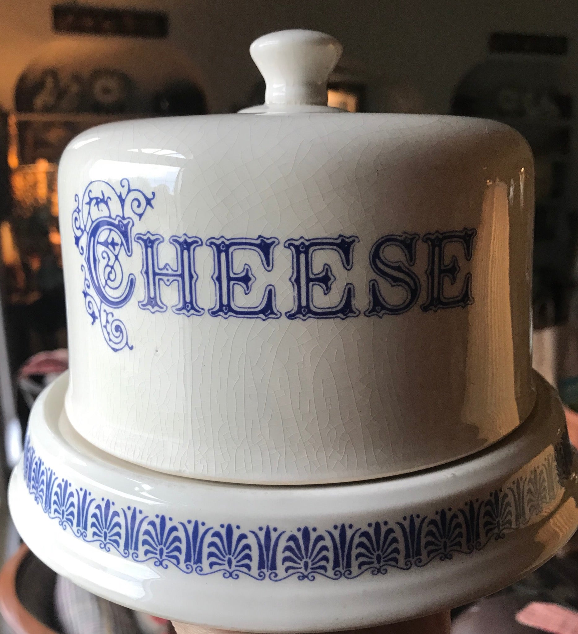 English Blue White Transfer Cheese Dome Slab Dairy Egg Holder