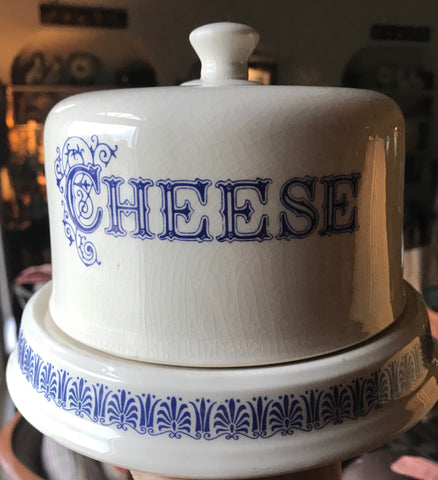 English Blue & White Transfer CHEESE Dome & Slab / Dairy Egg Holder
