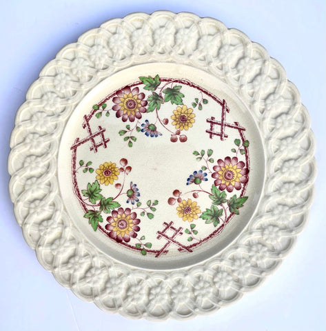 Antique Red Flowers on Trellis Transferware Plate w/ Daisy Lattice Relief Border