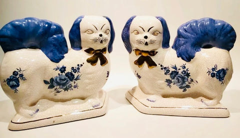 Vintage Pair Blue & White Roses Staffordshire Spaniel Dog Figurines  - English Country Decor