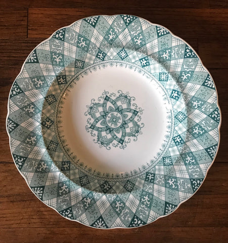 Antique Teal Green Transferware Deep Plate / Bowl Caledonian Tartan Plaid Staffordshire Ridgway