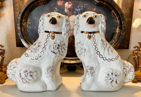 Antique Large King Charles English Staffordshire Dogs  White w/ Chocolate Flecks & Copper Luster