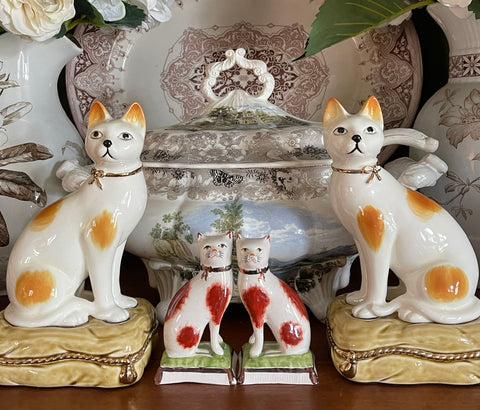 "Vintage Pair 8"" Caramel Spotted Staffordshire Cat Figurines on Green Tassel Pillow Base"