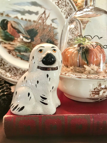 "Small  4""  White English Staffordshire Spaniel Dog Figurine"