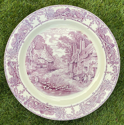 Purple Transferware Platter Charger Tray Rural Scenes Thatched Cottage Mother Children Bee Skep