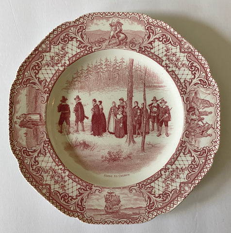 Pink / Red Transferware Plate Colonial Times - Going to Church - Historical - Pilgrim / Thanksgiving Dinnerware