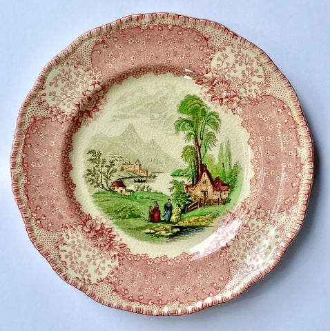 Antique English Pink / Red Transferware Cottage Plate Royal Doulton Chatham