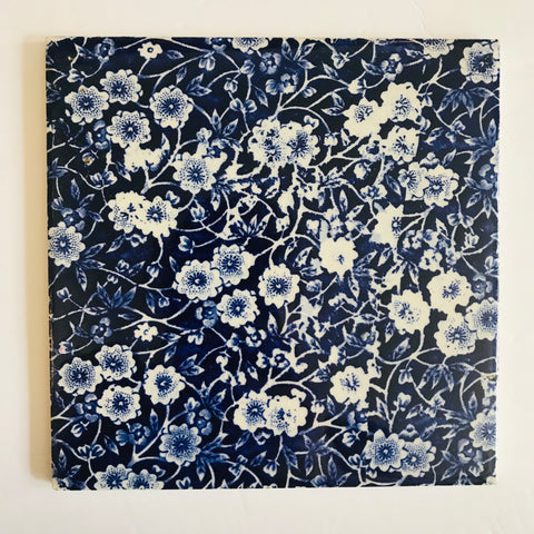 Blue Calico Floral Chintz English Transferware Staffordshire Trivet / Tile