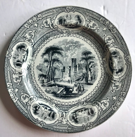 Antique Wedgwood Black Staffordshire Transferware Plate Corinthia