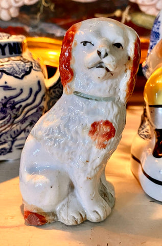 Pair of Antique English Staffordshire King Cavalier Spaniel Dog Figurines - Damaged