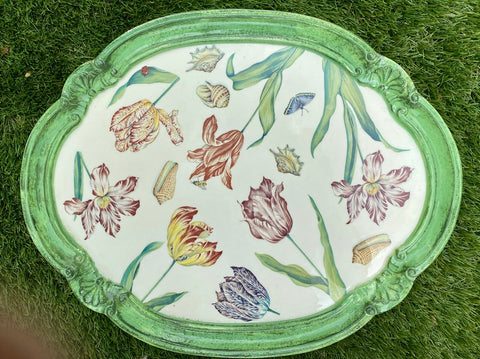 Italian Florentine Wood Tray Painted Parrot Tulips Ladybug Butterfly Shells