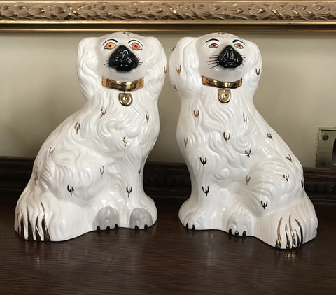 "8"" Royal Doulton Pair White w/ Black & Gold English Staffordshire Spaniel Dog Figurines  - English Country Decor"