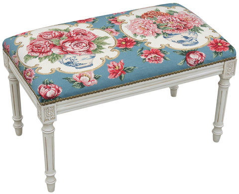 New French Louis Needlepoint Bench Chinoiserie Blue w/ Pink Peonies & Roses