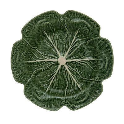 Set of 4 Green Majolica Pinheiro Bordallo Cabbage Leaf Charger Plates 12.25""