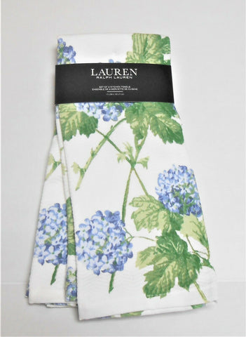 Pair (2) New Ralph Lauren Blue Hydrangea Kitchen Dish / Tea Towels