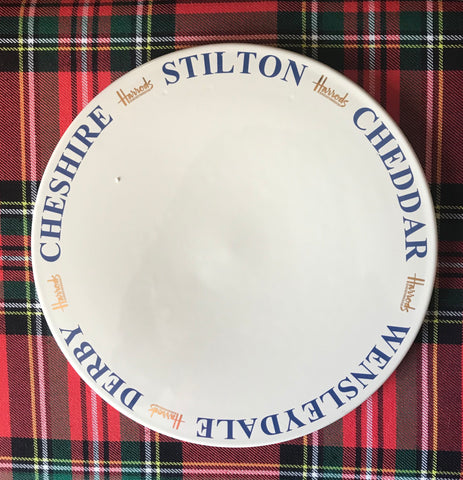 Harrods Blue & White Ironstone Advertising English Cheese Board Dairy Slab Serving Plate / Tray