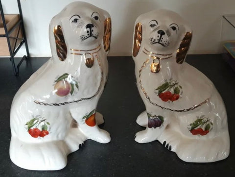 Pair of Chintz English Staffordshire Spaniel Dogs w/ Fruit Motif' Rare & Unusual