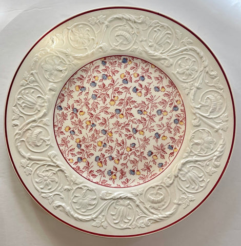 Vintage Wedgwood English Red Transferware Floral Chintz  Embossed Border