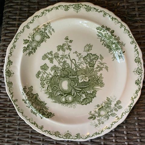 Green English Transferware Round Cookie Tray / Platter Mason Harvest Fruits in a Basket