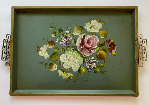 Vintage Green Fretwork Handled Tole Tray Toleware Hand Painted Flowers