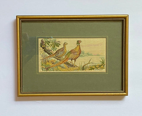 Vintage English Woven Silk Pheasants Game Birds Matted & Gold Frame