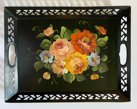 Vintage Black Handled Reticulated Hand Painted  metal Toleware Tray