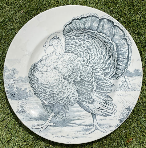 Antique Gray - Black Transferware Turkey Plate English Staffordshire Thanksgiving Midwinter