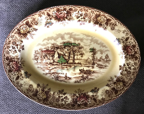 Multi Color Transferware Brown Transferware  Platter Little girl & Dog European Cottage in the Country
