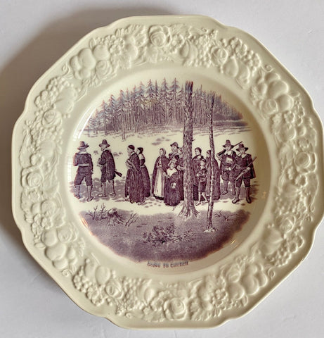 Purple Transferware Plate Embossed Border Going to Church Historical Pilgrim