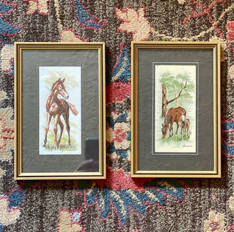 Vintage English Woven Silk Horse Foal Matted & Gold Frame