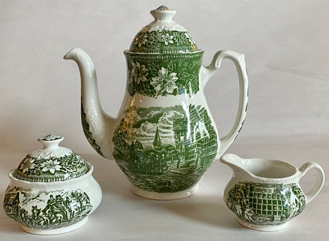 Vintage Green Transferware Coffee / Tea Pot Sugar Creamer Travelers Horses Roses