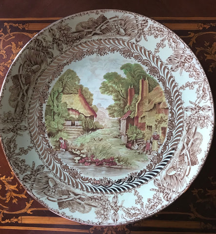 VERY RARE A J Wilkinson Rural Scenes Brown Transferware Platter w/ Silver Overlay Mother Children Cottage