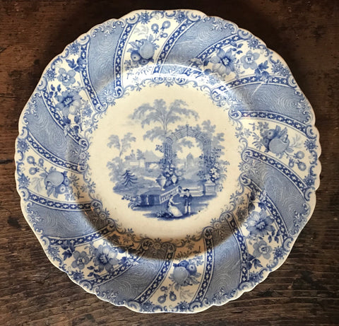 W S & Co WEDGeWOOD Blue Faux Bois Tourist Light Blue Transferware Plate