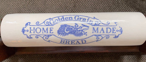 Blue Transferware Golden Grain Bread Advertising Rolling Pin Kitchen Decor