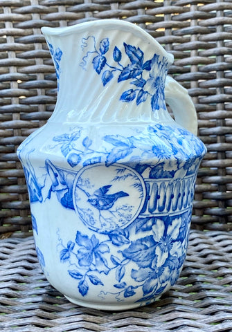Antique Victorian Blue & White Birds & Botanicals Transferware Pitcher