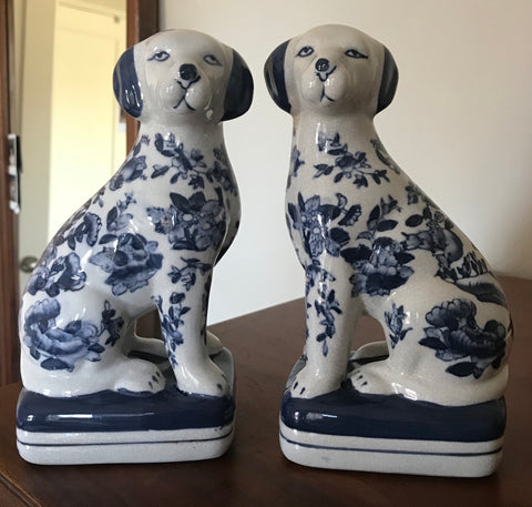 Pair Blue Chinoiserie Chintz English Staffordshire Open Leg Dog Figurines