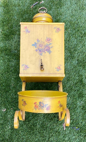 Yellow  Tole Toleware Antique Country French Provincial Lavabo Wall Planter w/ Handpainted Flowers