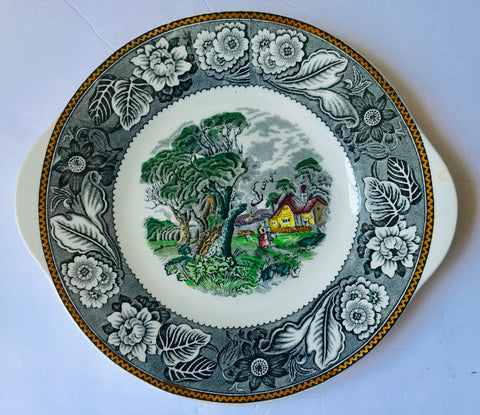 Vintage Black Transferware Platter Woods Woodland Pastoral Cattle in Stream & Farmhouse
