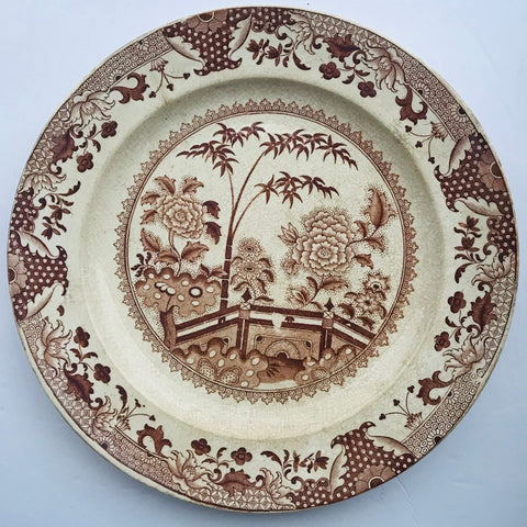 Antique Brown Willow English Transferware Staffordshire Plate Chinoiserie Scenery